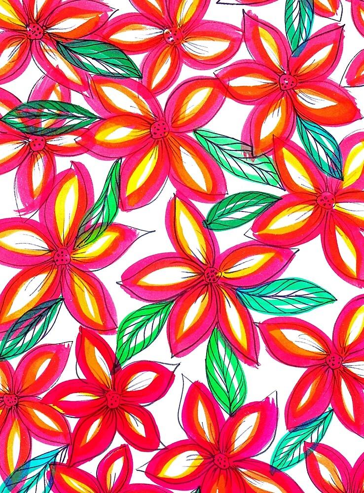 Rote Blumen in Wasserfarben von RanitasArt