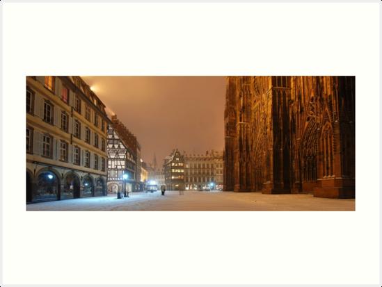 « Place de la Cathédrale la nuit » par Jean Isenmann