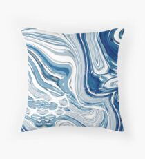 chic marble nautical beach blue watercolor ocean waves Throw Pillow