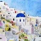 Ägäisches Meer-Aquarellmalerei Santoroni Griechenland von ColorandColor