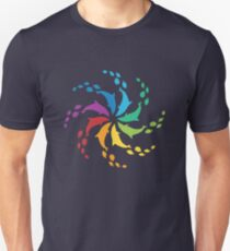 Color: Dolphin Rainbow Pinwheel Unisex T-Shirt