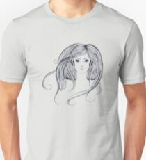 Woman with Long Hair2 Unisex T-Shirt