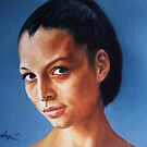 portrait of a young woman in blue by gordon anderson