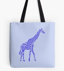 Cute Whimsy Blue Patterned Giraffe Tote Bag