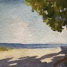 Beach Day - plein air seascape watercolor by LindaAppleArt