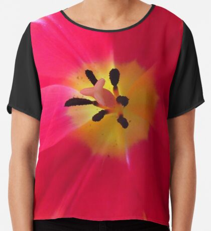 bunter Blütentraum, Tulpen, Tulpe rot gelb Chiffontop für Frauen