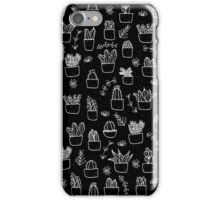 Potted Plants Pattern (White on Black) iPhone Case/Skin