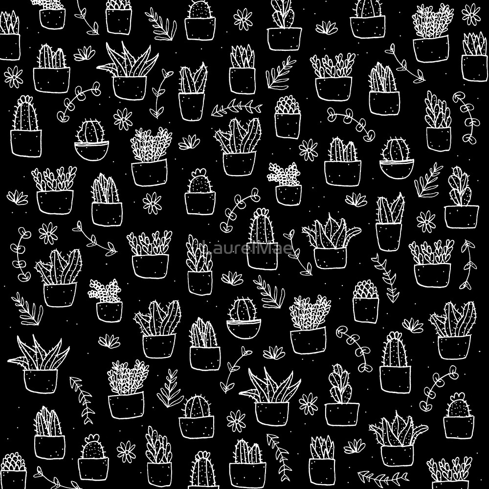 Potted Plants Pattern (White on Black) by LaurelMae