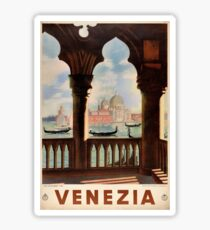 Venice Venezia Vintage Travel Poster Restored Sticker