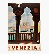 Venice Venezia Vintage Travel Poster Restored Photographic Print