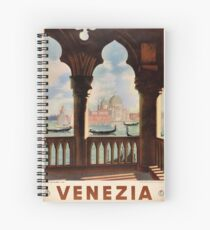 Venice Venezia Vintage Travel Poster Restored Spiral Notebook
