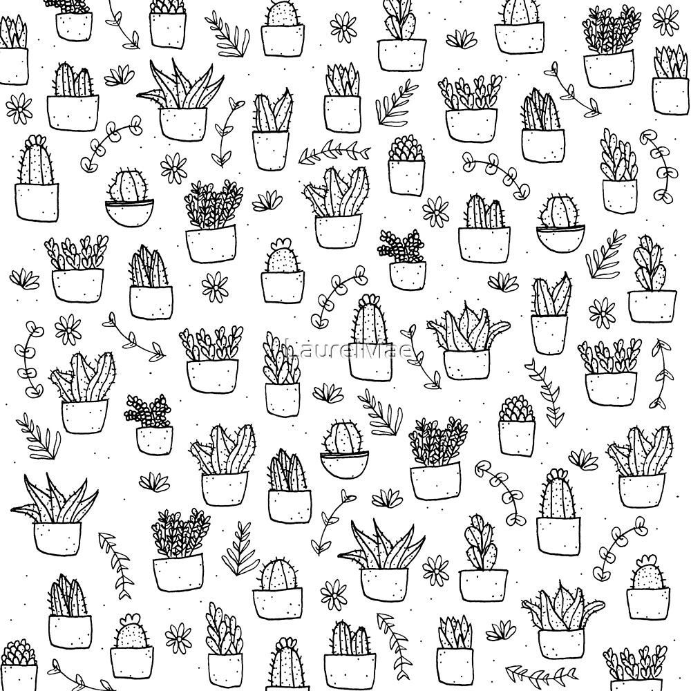 Potted Plants Pattern (Black on White) by LaurelMae