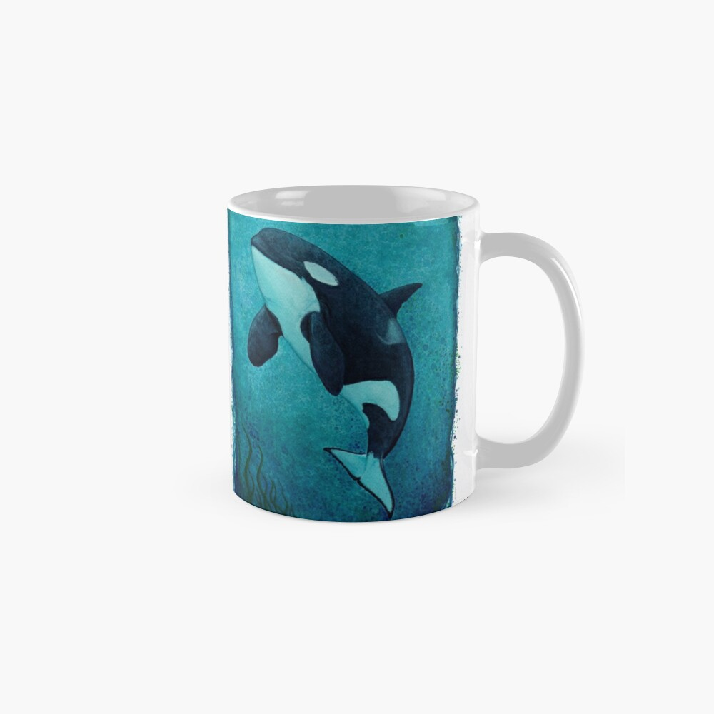 """""""The Matriarch"""" by Amber Marine ~ killer whale / orca watercolor painting, (J2 Granny) art © 2016 Classic Mug"""
