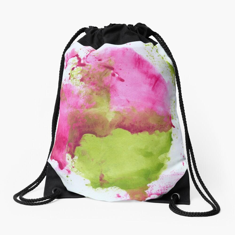 Pink and Green Splotch Drawstring Bag Front