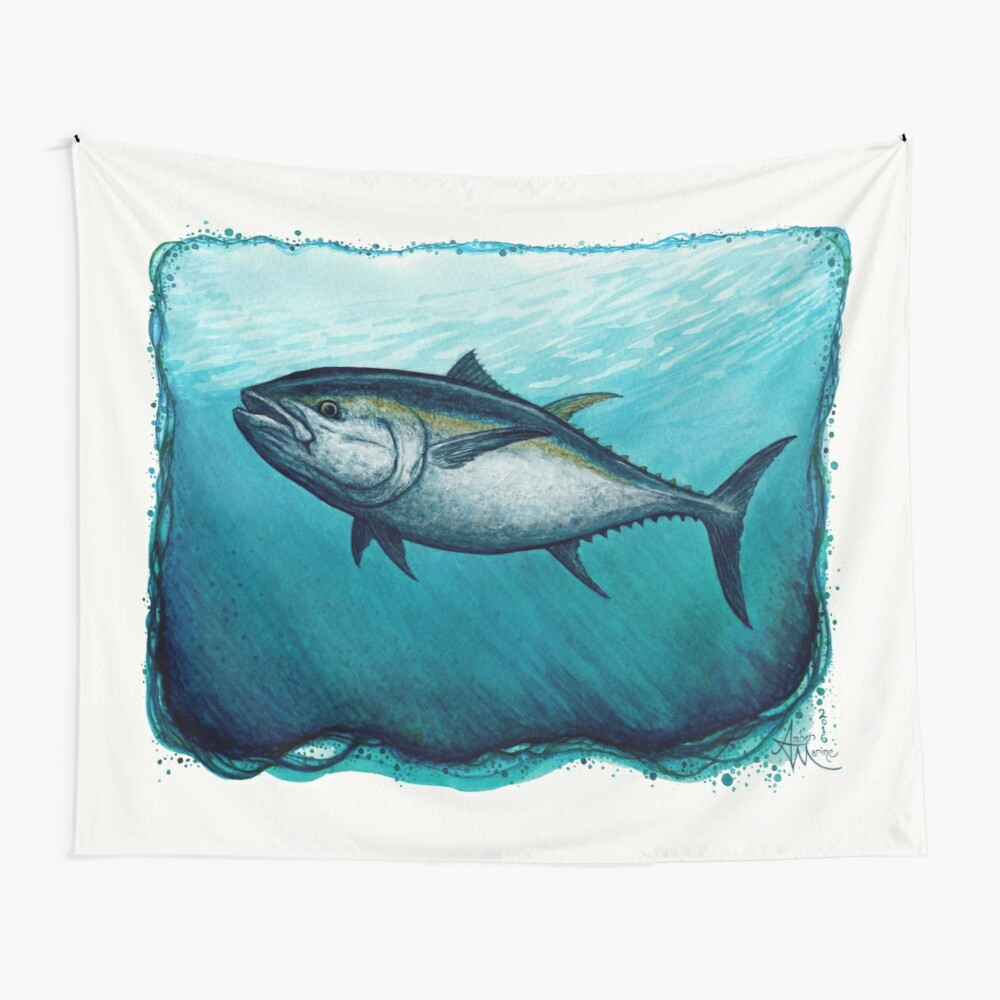 """Bluefin Tuna"" by Amber Marine ~ Watercolor painting, art © 2016 Wall Tapestry"
