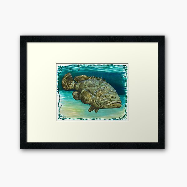 """Goliath Grouper"" by Amber Marine ~ Watercolor painting, art © 2016 Framed Art Print"