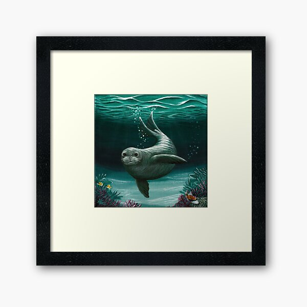 """Hawaiian Monk Seal"" by Amber Marine ~ Acrylic painting, art © 2015 Framed Art Print"