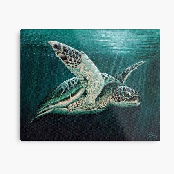 """Moonlit"" by Amber Marine ~ Acrylic sea turtle painting, art © 2015 Metal Print"