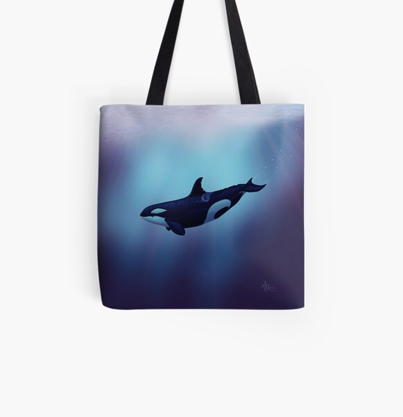 """Lost in Fantasy"" by Amber Marine ~ orca / killer whale art, © 2015 All Over Print Tote Bag"