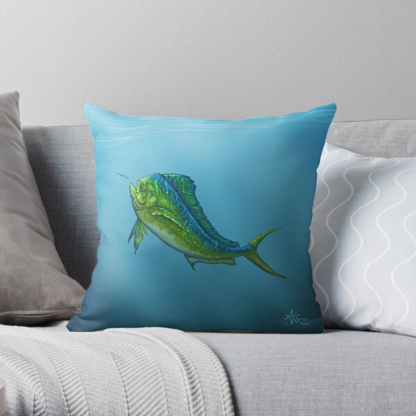 """El Dorado"" by Amber Marine ~ mahi mahi / dolphin fish art, © 2015 Throw Pillow"