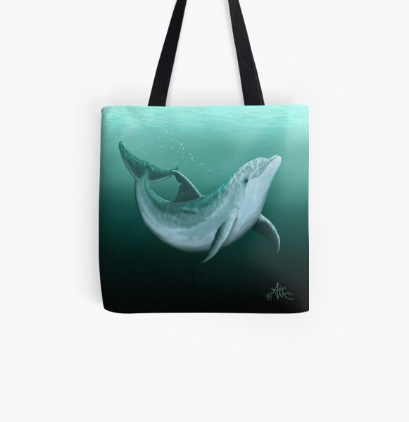 """Riversoul"" by Amber Marine ~ Indian River Lagoon bottlenose dolphin art, © 2014 All Over Print Tote Bag"