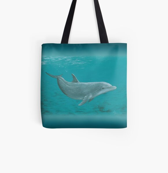 """Shallow Reef"" by Amber Marine ~ acrylic dolphin painting, © 2014 All Over Print Tote Bag"