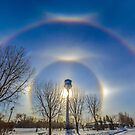 Sundogs over Noonan Water Tower by Jerry Walter
