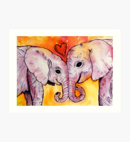 Elephants in Love Art Print