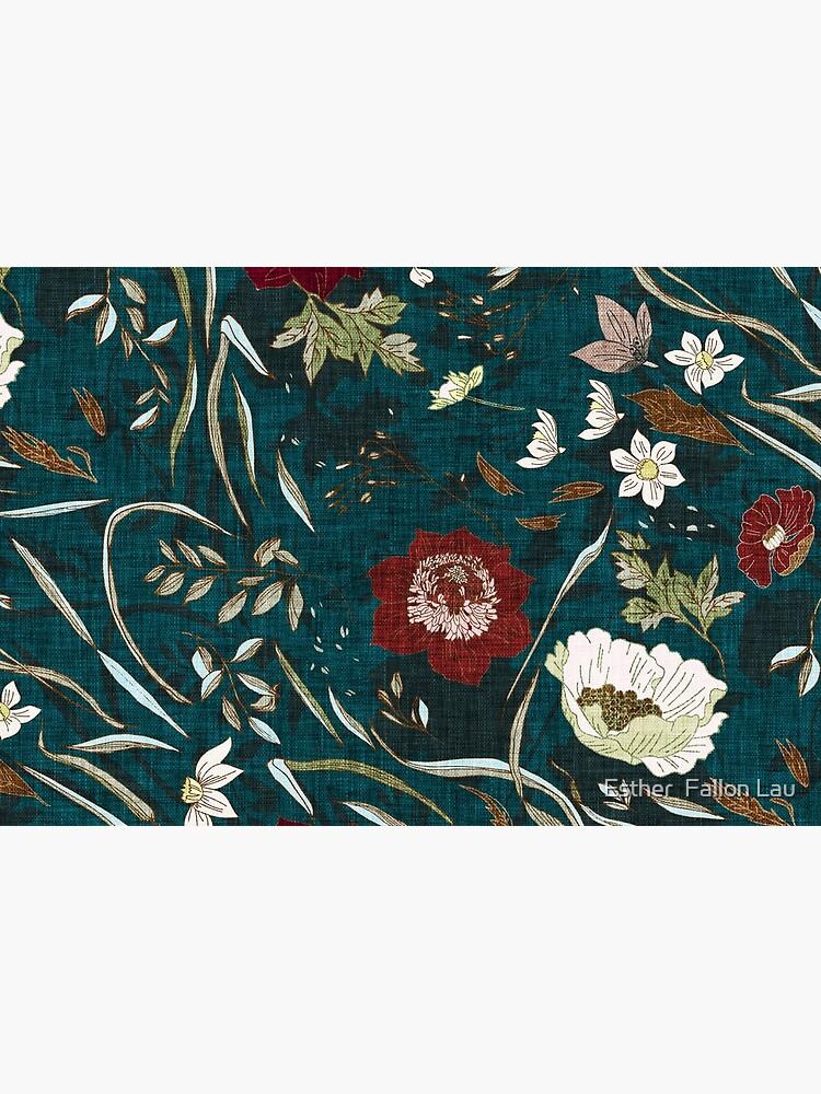 Noir Floral (teal)  by nouveaubohemian