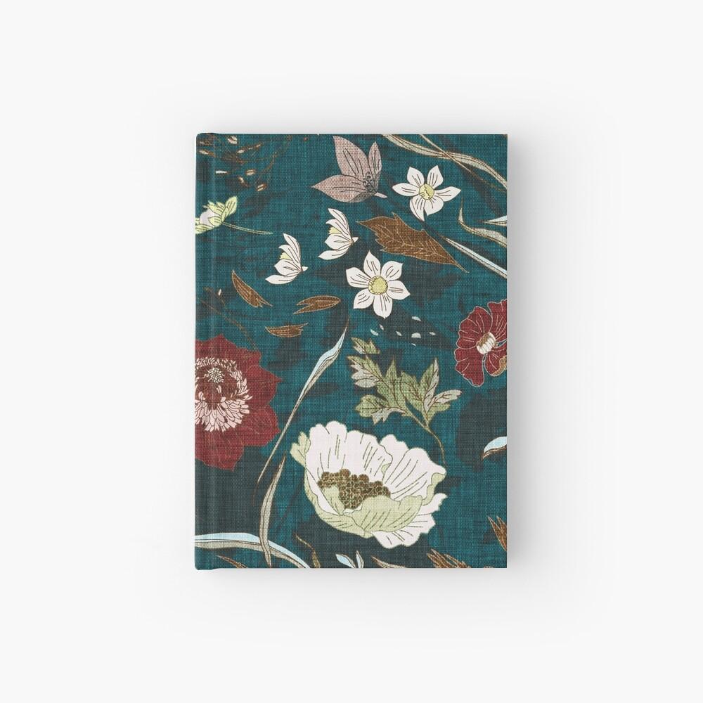 Noir Floral (teal)  Hardcover Journal
