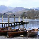 Boats and jetty at Derwent water by monkeyferret