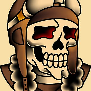 American Traditional Kamikaze Pilot Skull by salty-dog