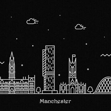 Manchester Skyline Minimal Line Art Poster de geekmywall