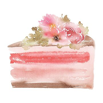 Pink Cake Watercolor Illustration by junkydotcom