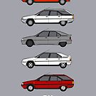Citroen BX Classic Car Collection Artwork by RJWautographics