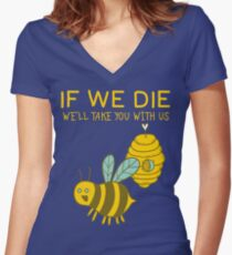 Save The Bees T Shirt Women's Fitted V-Neck T-Shirt