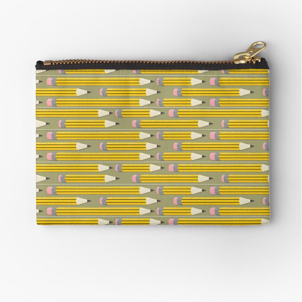 Pencil Pattern - yellow art pencils on brown Zipper Pouch