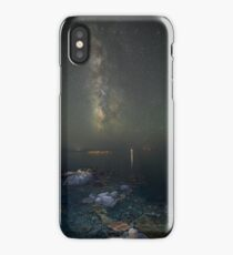 Milky way at a rocky sea coast in Syros island, Greece iPhone Case/Skin