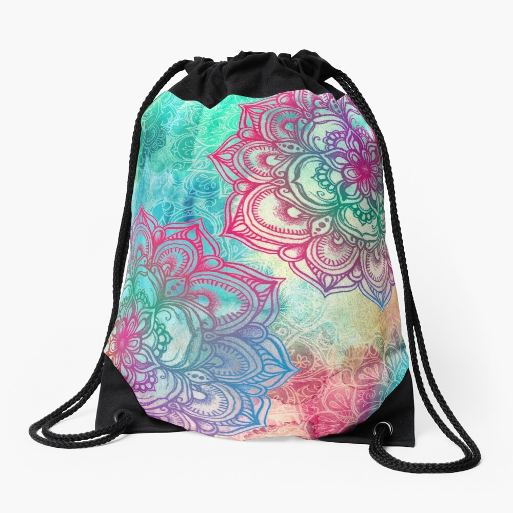 Round and Round the Rainbow Drawstring Bag