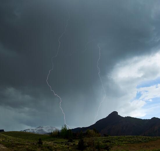 Lightning Around Ptarmigan Mountain by JL Woody Wooden