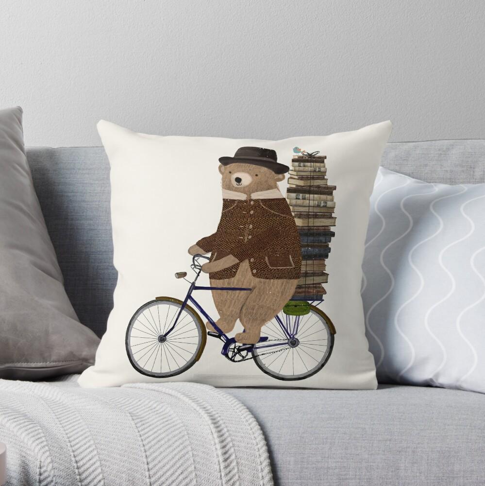 an educated bear Throw Pillow