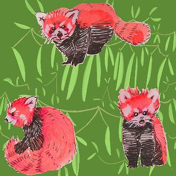 Red Panda Pattern by HungryRam45