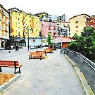 Benches and buildings by Giuseppe Cocco