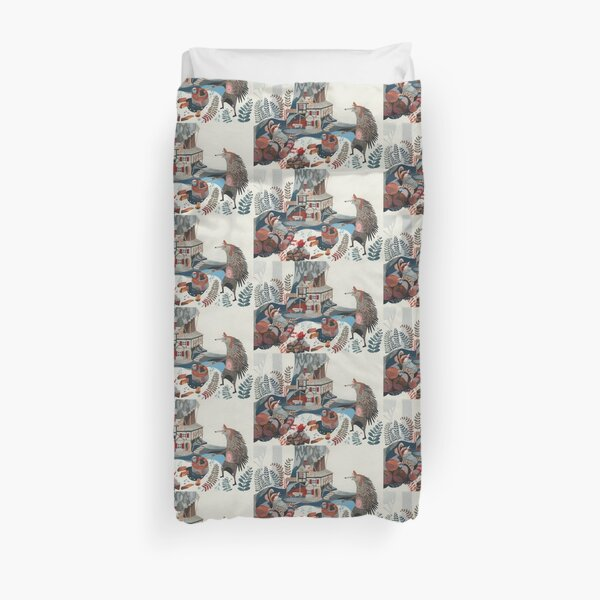 Wood chopping friends Duvet Cover