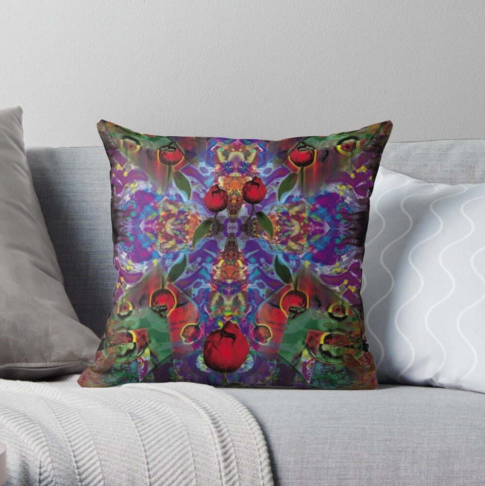 Vision with Tulips Throw Pillow