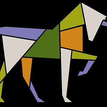Mid Century Modern Abstract Unicorn Tangram Geometric Animal by 26-Characters