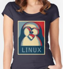 Linux tux penguin obama poster logo Women's Fitted Scoop T-Shirt
