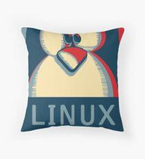 Linux tux penguin obama poster logo Throw Pillow