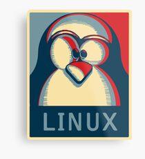 Linux tux penguin obama poster logo Metal Print
