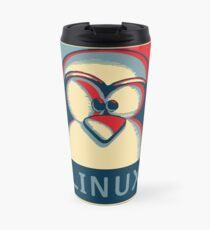 Linux tux penguin obama poster logo Travel Mug